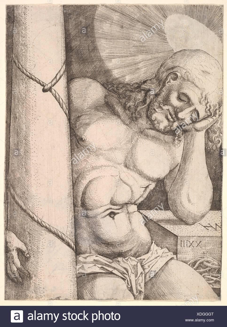 The Man of Sorrows at the Column. Artist: Nikolaus Hogenberg (Netherlandish, Munich ca. 1500-1539 Mechelen); Date: 1523; Medium: Etching; Dimensions: - Stock Image