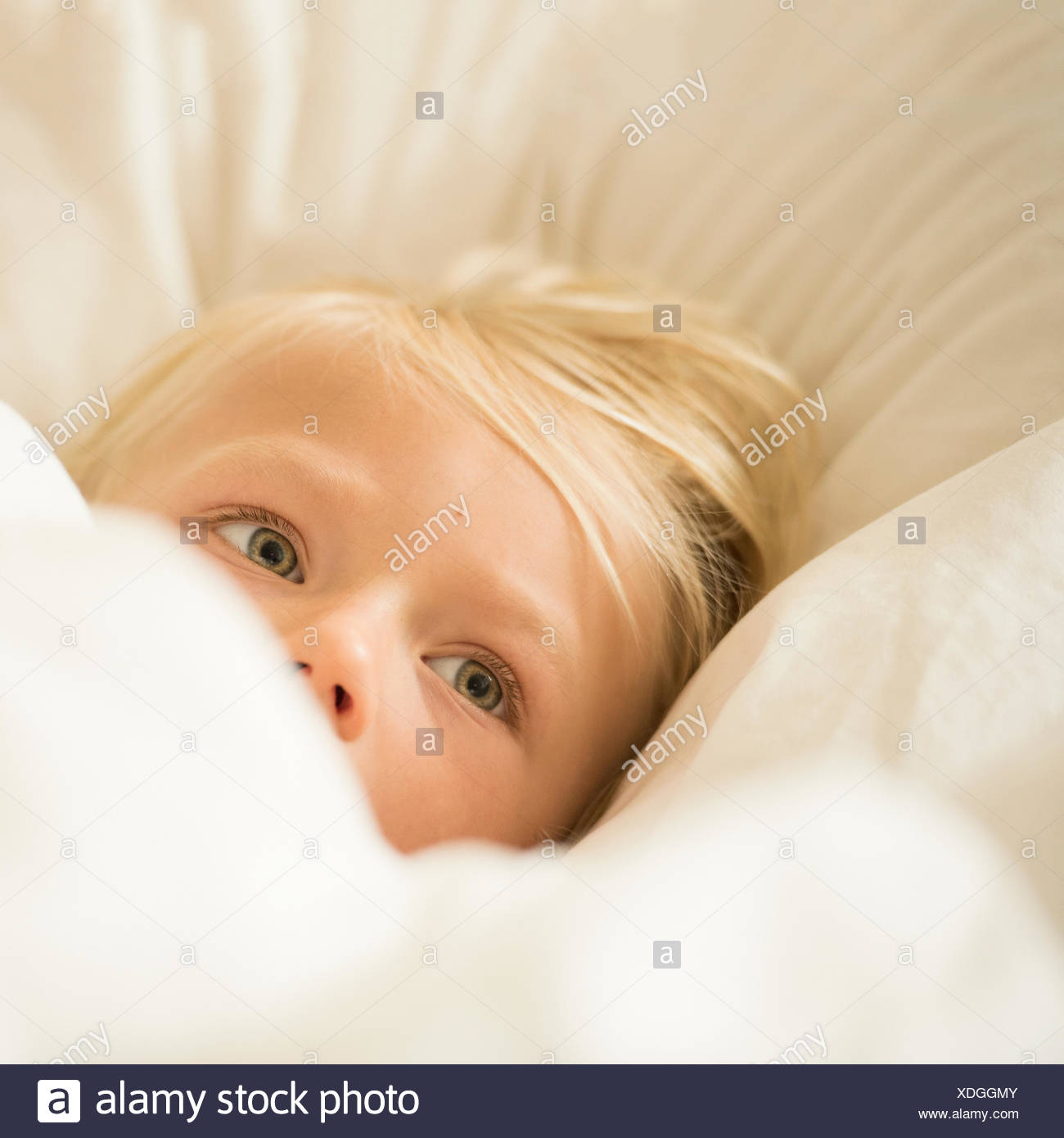 Portrait of blonde haired boy in bed - Stock Image
