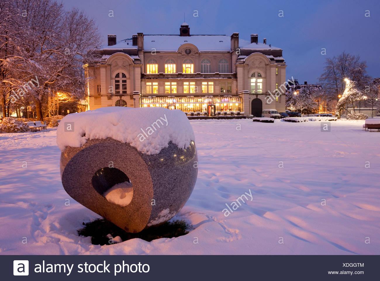 Switzerland, Europe, night, dark, Christmas, Advent, canton, SG, St. Gallen, St. Gall, sound hall, evening, lights, winter - Stock Image