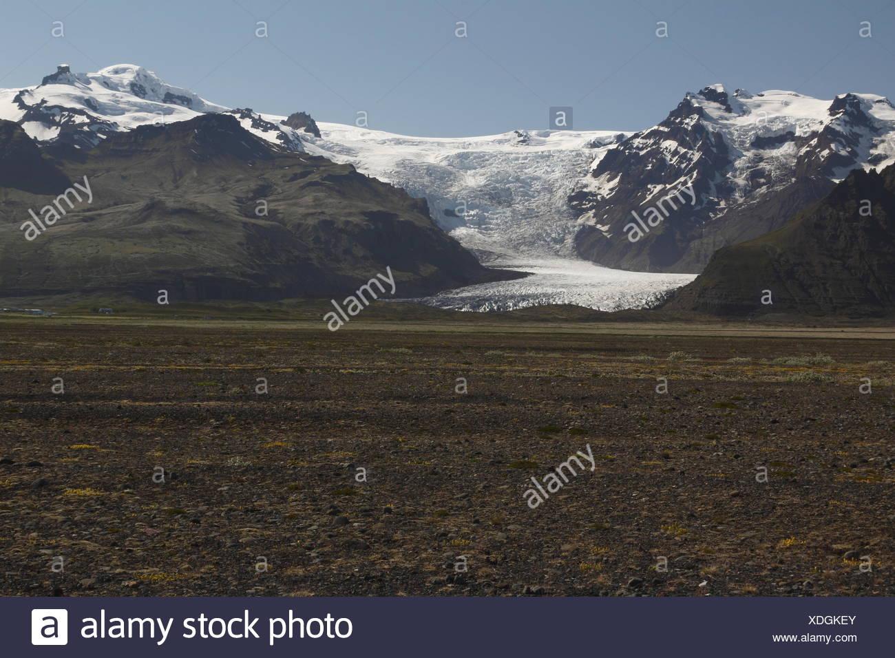 Hvannadalshnúkur and Svínafellsjökull. Hvannadalshnúkur (2110m) is the highest peak in Iceland. Svínafellsjökull is one of - Stock Image