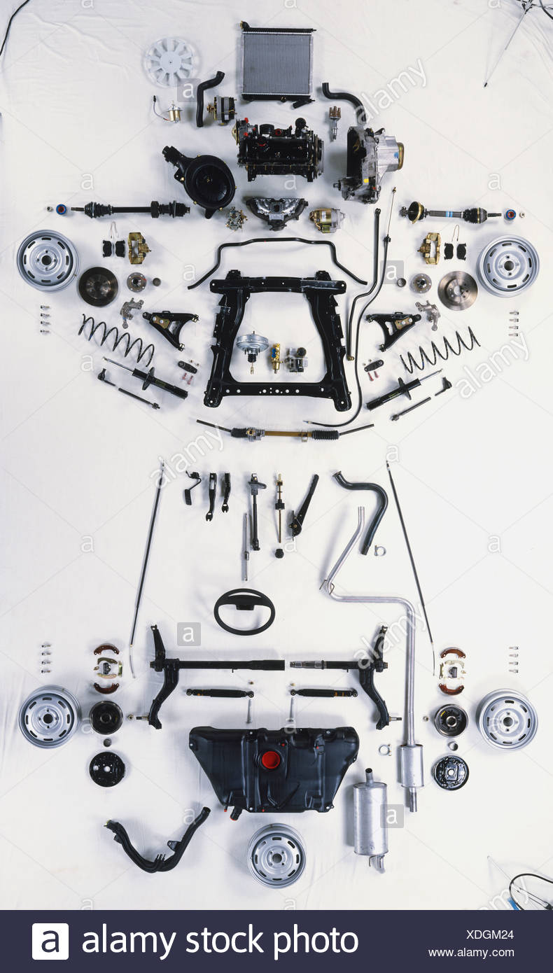 Mechanical components of car laid out, including exhaust and