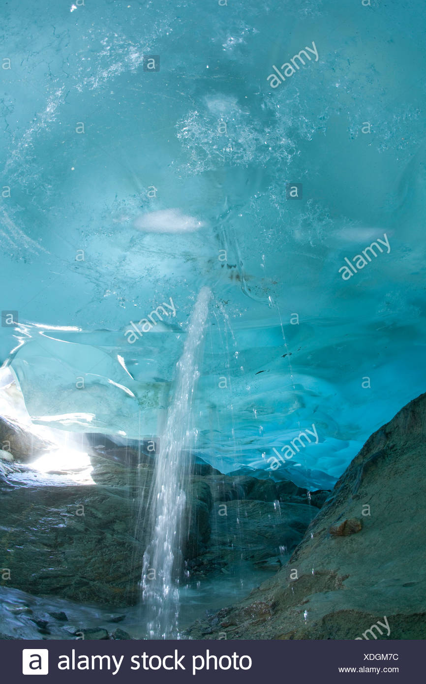 Glacier cave, ice, glacier, ice, moraine, canton, Valais, Switzerland, Europe, water, melt, climate, warming, - Stock Image