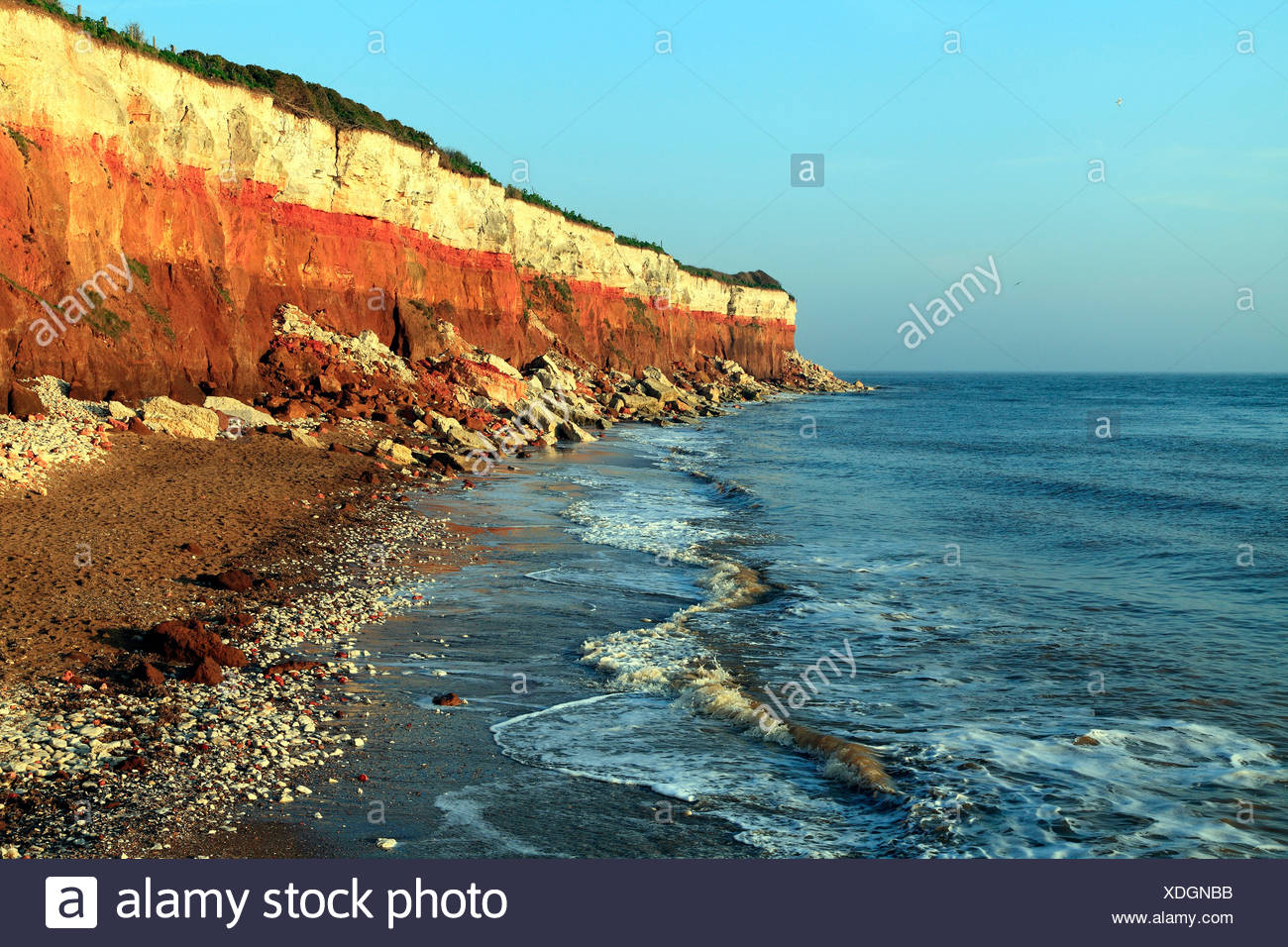 Old Hunstanton Cliffs, High Tide, Norfolk England English North Sea