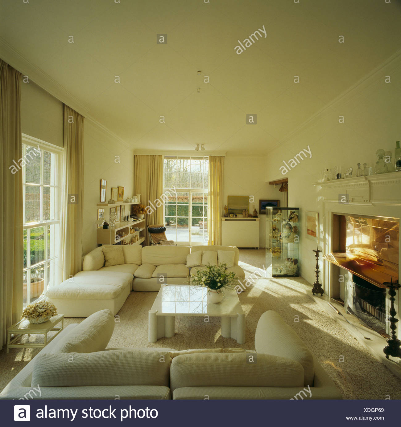 Neutral Livingroom With Modern Furniture In Swedish Country House   Stock  Image