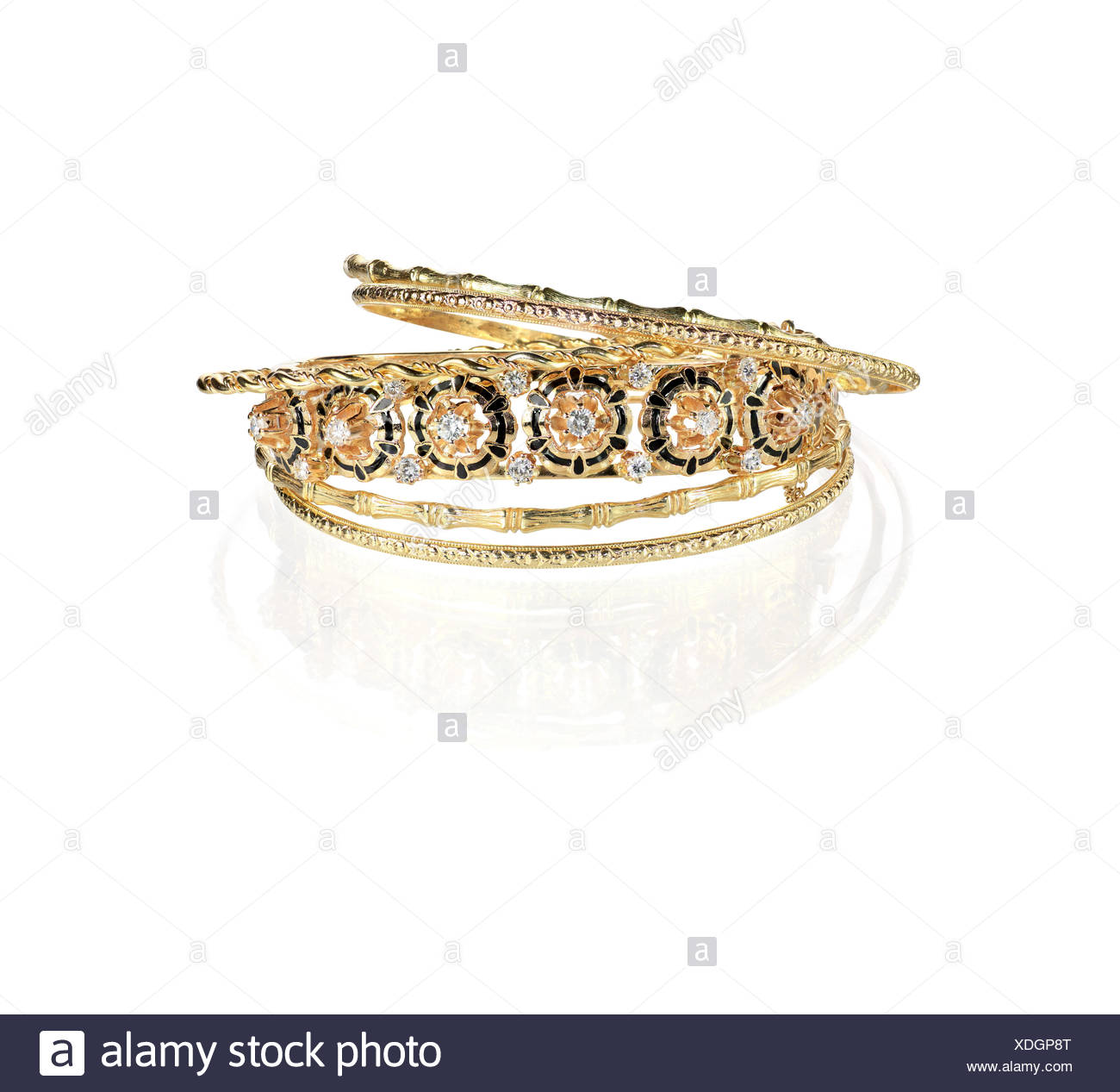 Gold Diamond Vintage bangle bracelets - Stock Image
