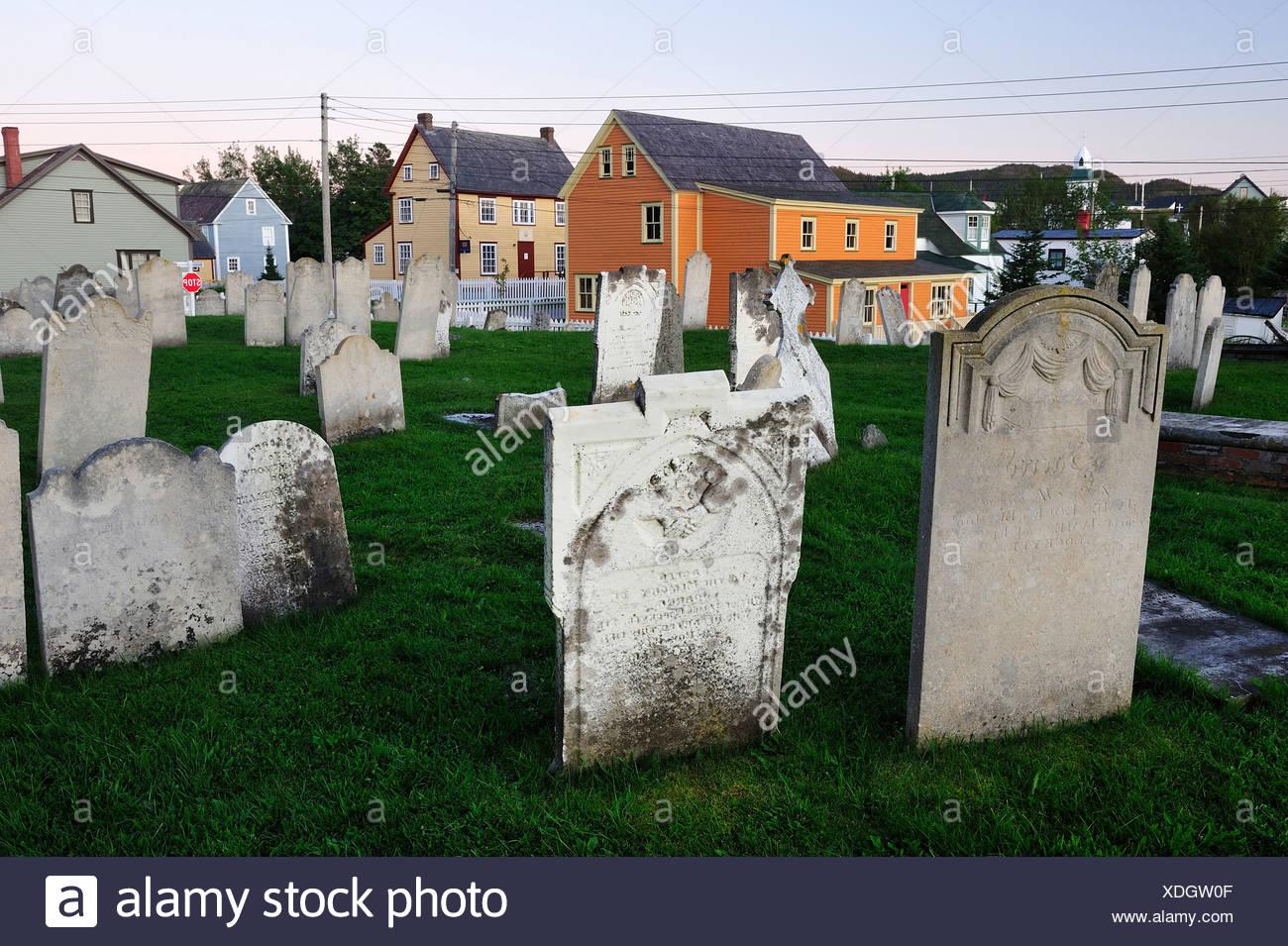 Cemetery, Trinity, Newfoundland, Canada, tombstone, old - Stock Image