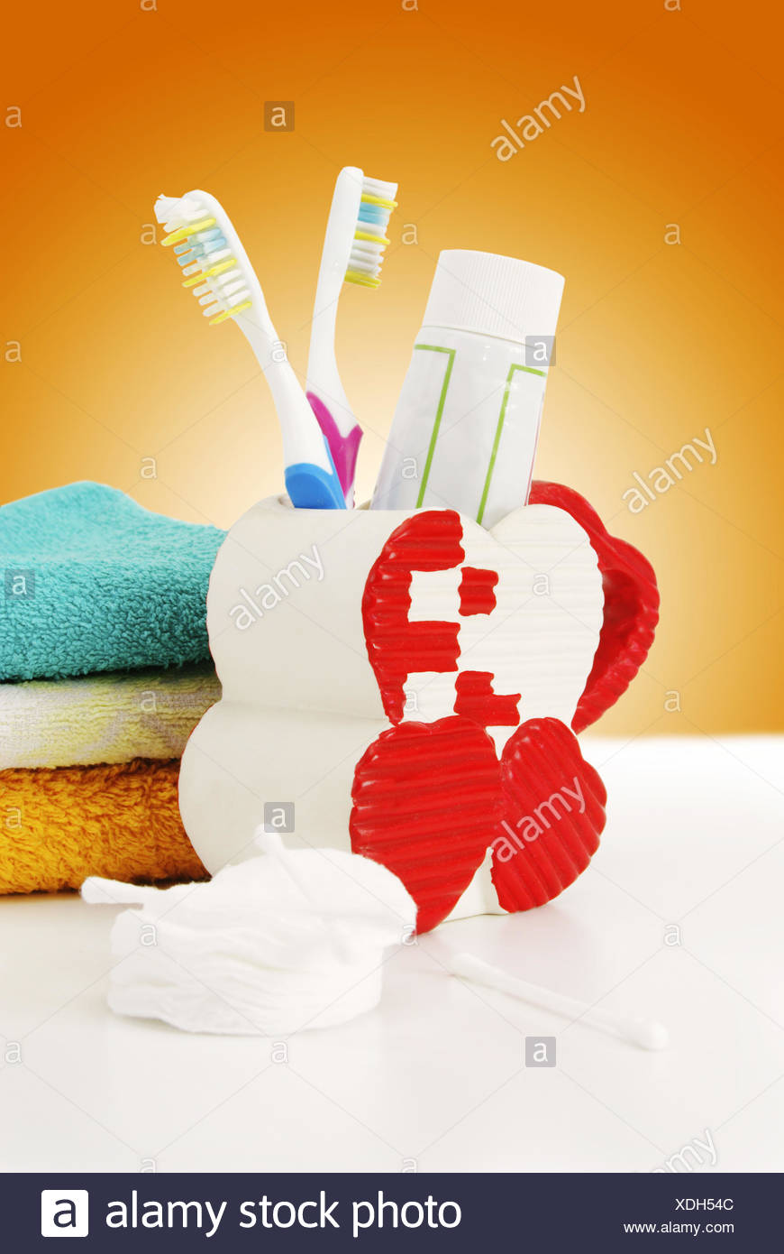 Hygienic accessories on a color background - Stock Image