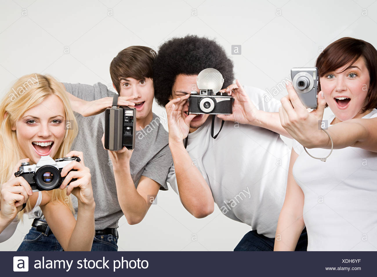 Friends taking pictures - Stock Image