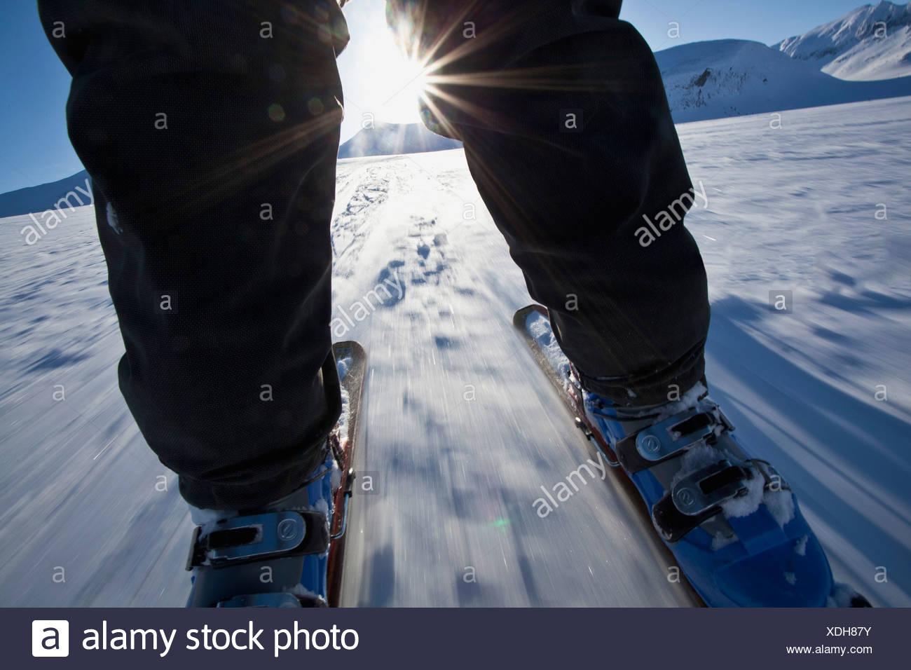 Ride touring skates in sunshine - Stock Image