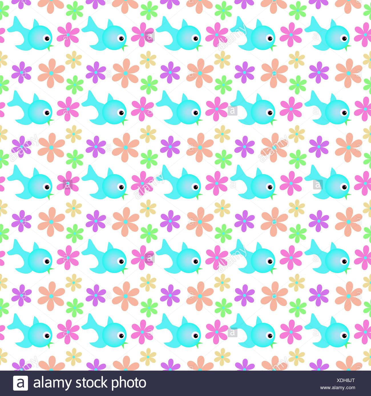 bird flower plant decorative birdie maddening pert coquettish cute backdrop - Stock Image