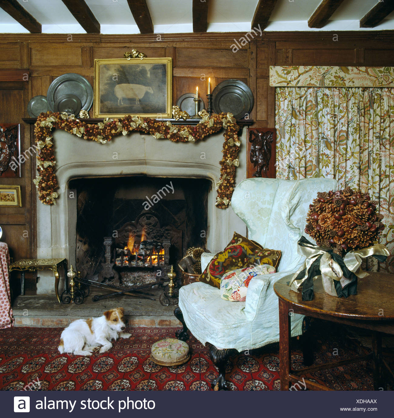 Awe Inspiring Terrier Dog Lying On Rug In Front Of The Fire In Country Gmtry Best Dining Table And Chair Ideas Images Gmtryco