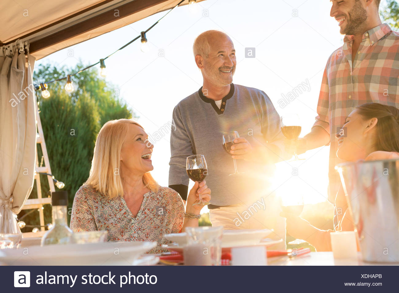 Family drinking wine at sunny patio table - Stock Image