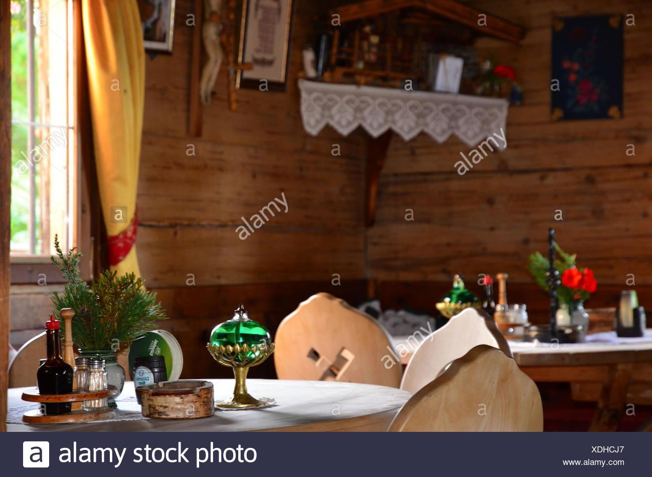 Austria, Tyrol, Zillertal, Höhenstrasse, alpine hut, farmhouse parlour, earthy, rural idyll, - Stock Image