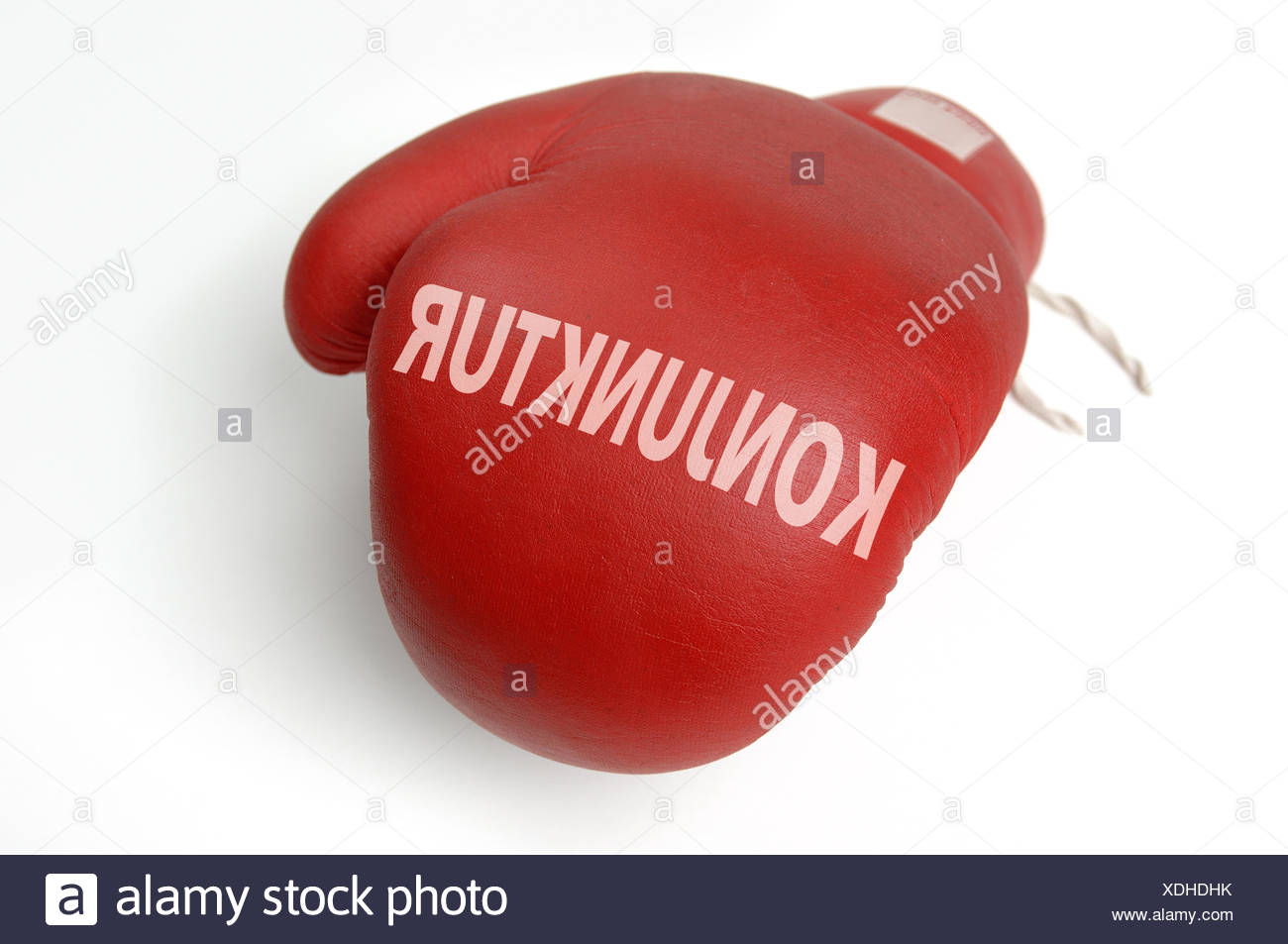 red boxing glove economy - Stock Image