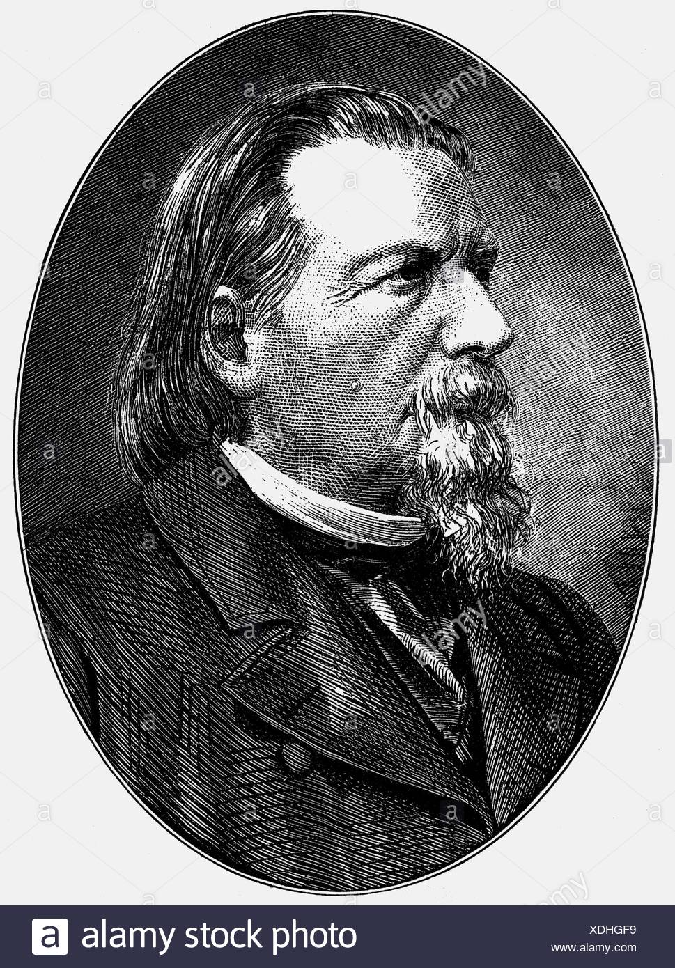 Gutzkow, Karl Ferdinand, 17.3.1811 - 16. 12.1878, German author / writer and journalist, portrait, wood engraving, 19th century, , Additional-Rights-Clearances-NA Stock Photo