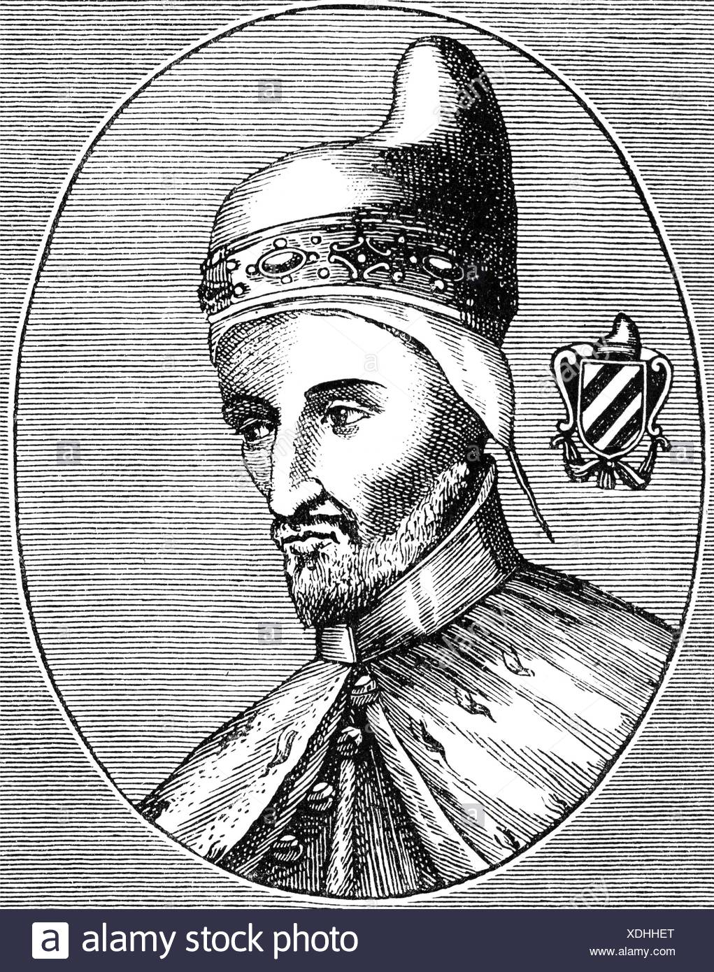 Contarini, Andrea, 1300/1302 - 5.6.1382, Doge of Venice 1368 - 1382, portrait, wood engraving, 19th century, Additional-Rights-Clearances-NA - Stock Image
