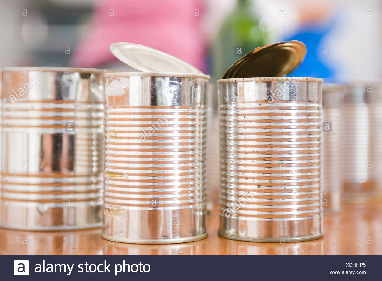 Still-life with used tins - Stock Image