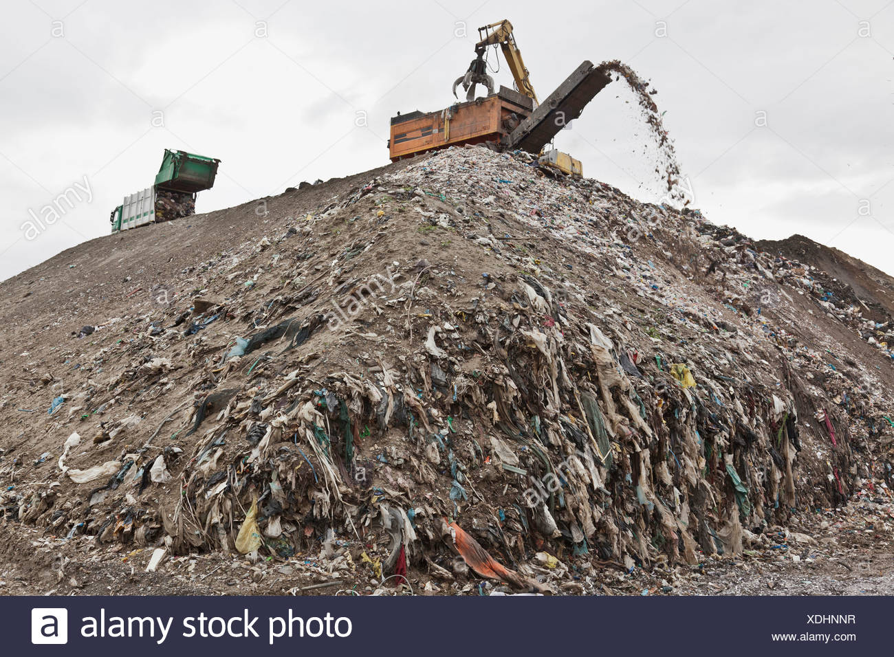 Machinery at garbage collection center - Stock Image
