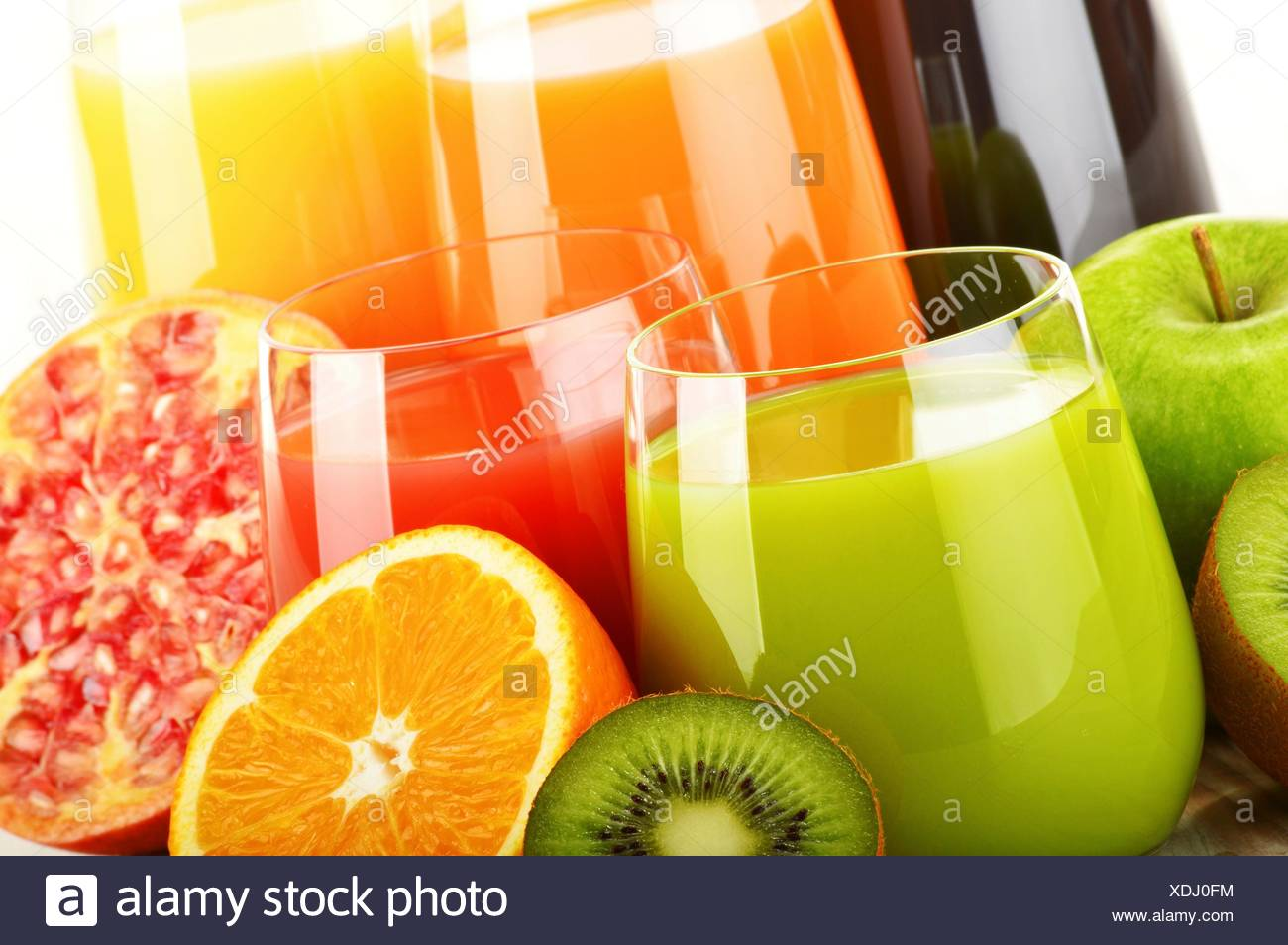 Composition with glasses of assorted fruit juices  Detox