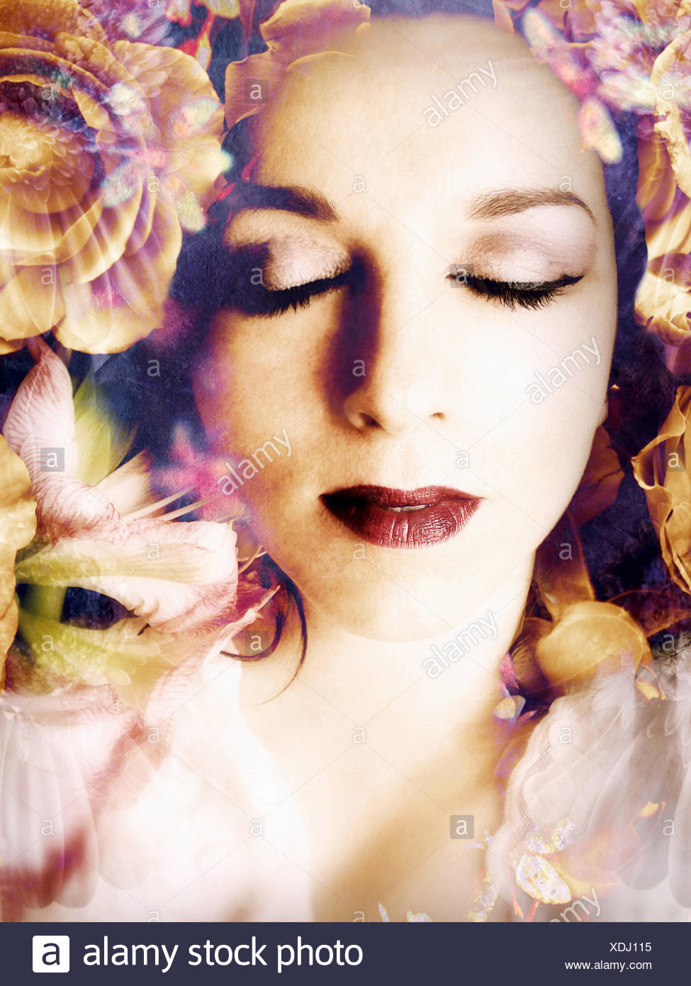 poetic montage of a portrait with flowers, Stock Photo