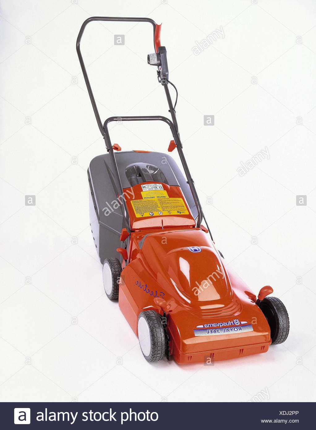 Lawn mower, electrically, producer, Husqvarna, model, royal 35 tablespoons, garden tools, gardening tool, electric lawn mower, rallying case, rallying basket, grass basket, studio, product photography, cut out - Stock Image