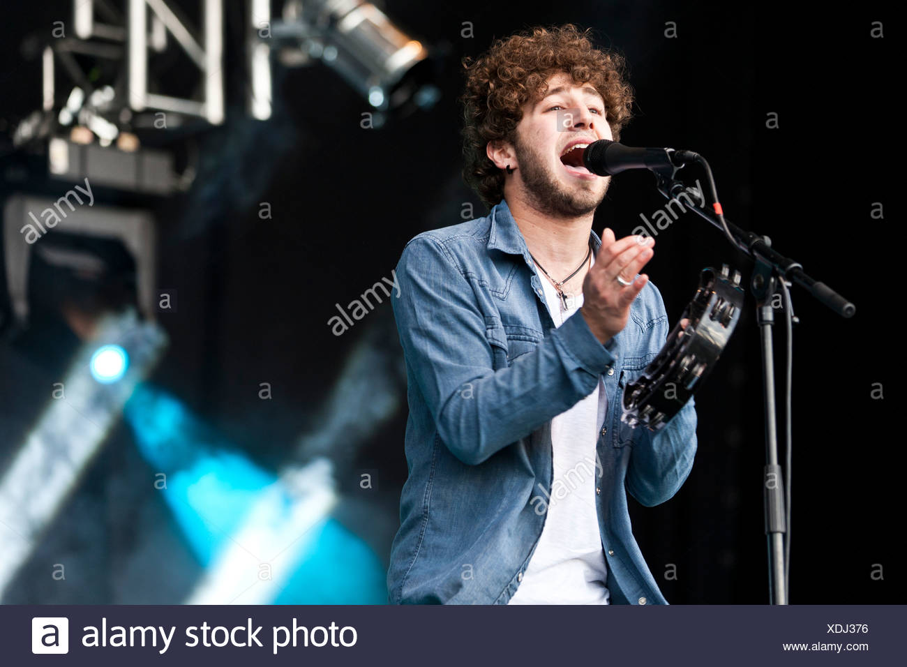 Alain Duff, singer and frontman of the Swiss band Without Problems, performing live during Soundcheck Open Air in - Stock Image