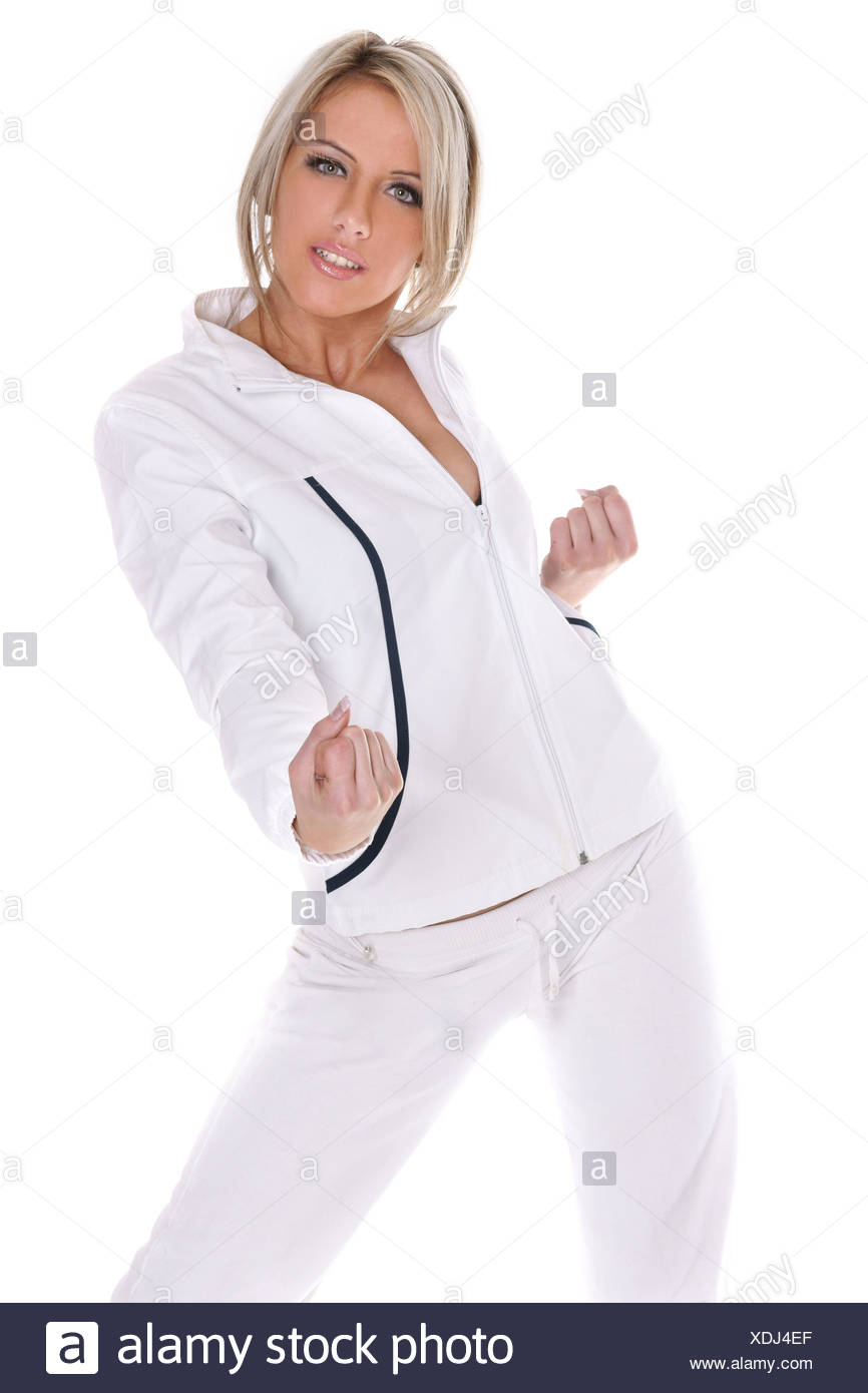 Cute young woman exercising - Stock Image
