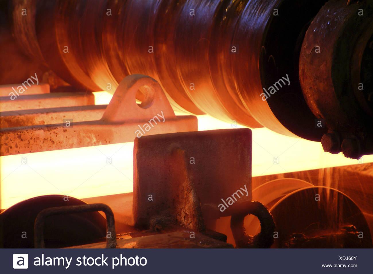 Germany, Saarbrucken-Burbach, Saarstahl Ag, wire production, Drahtstrasse, detail, Europe, Saarland, industry, steel industry, ironworks, economy, branch industry, steel processing, production, production, wire, wire production, heat, heat, annealing - Stock Image