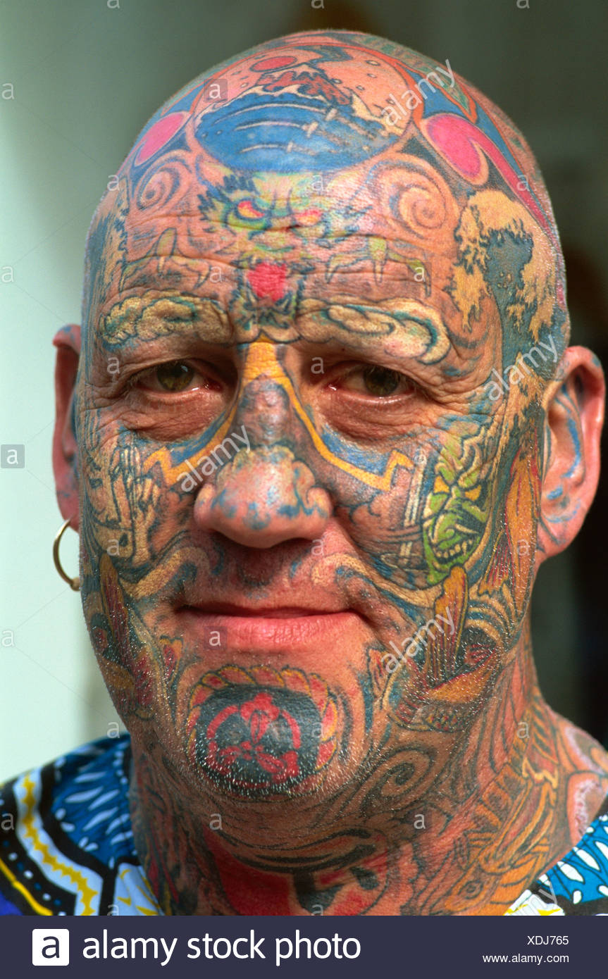 Uk United Kingdom Great Britain Britain England Man Male Tatoos Tattooed Tattooed Face Body Art No Model Release Stock Photo Alamy