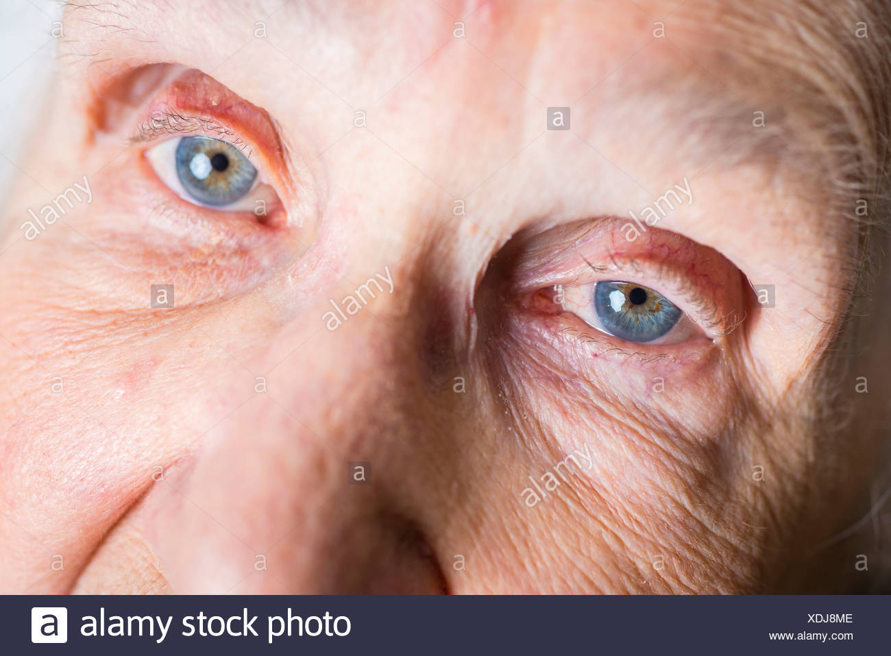 Part of face of aged woman - Stock Image