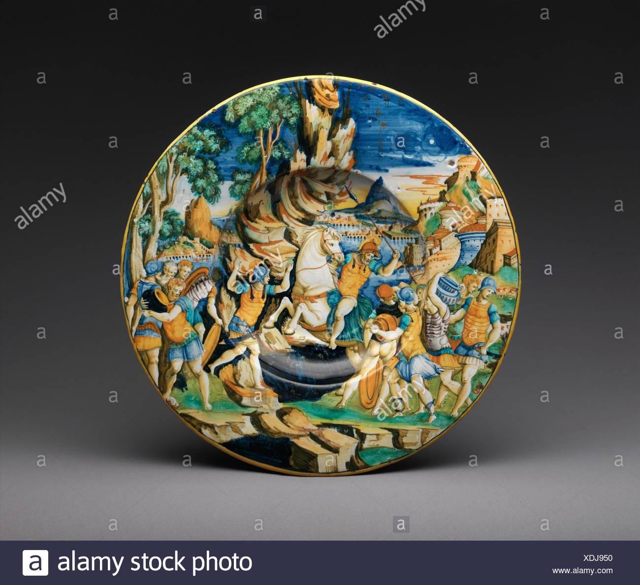 Dish with The Heroism of Marcus Curtius. Maker: Workshop of Guido de Merlino (Italian, active ca. 1523-58); Date: 1542; Culture: Italian, Urbino; - Stock Image