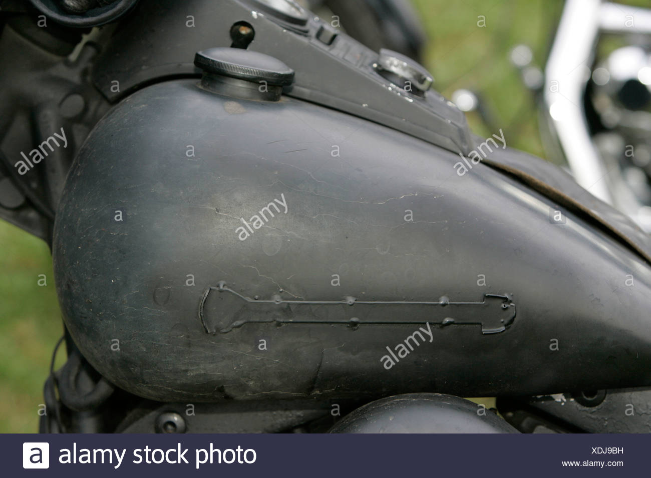 Harley Davidson, Gasolinetank, detail. Stock Photo