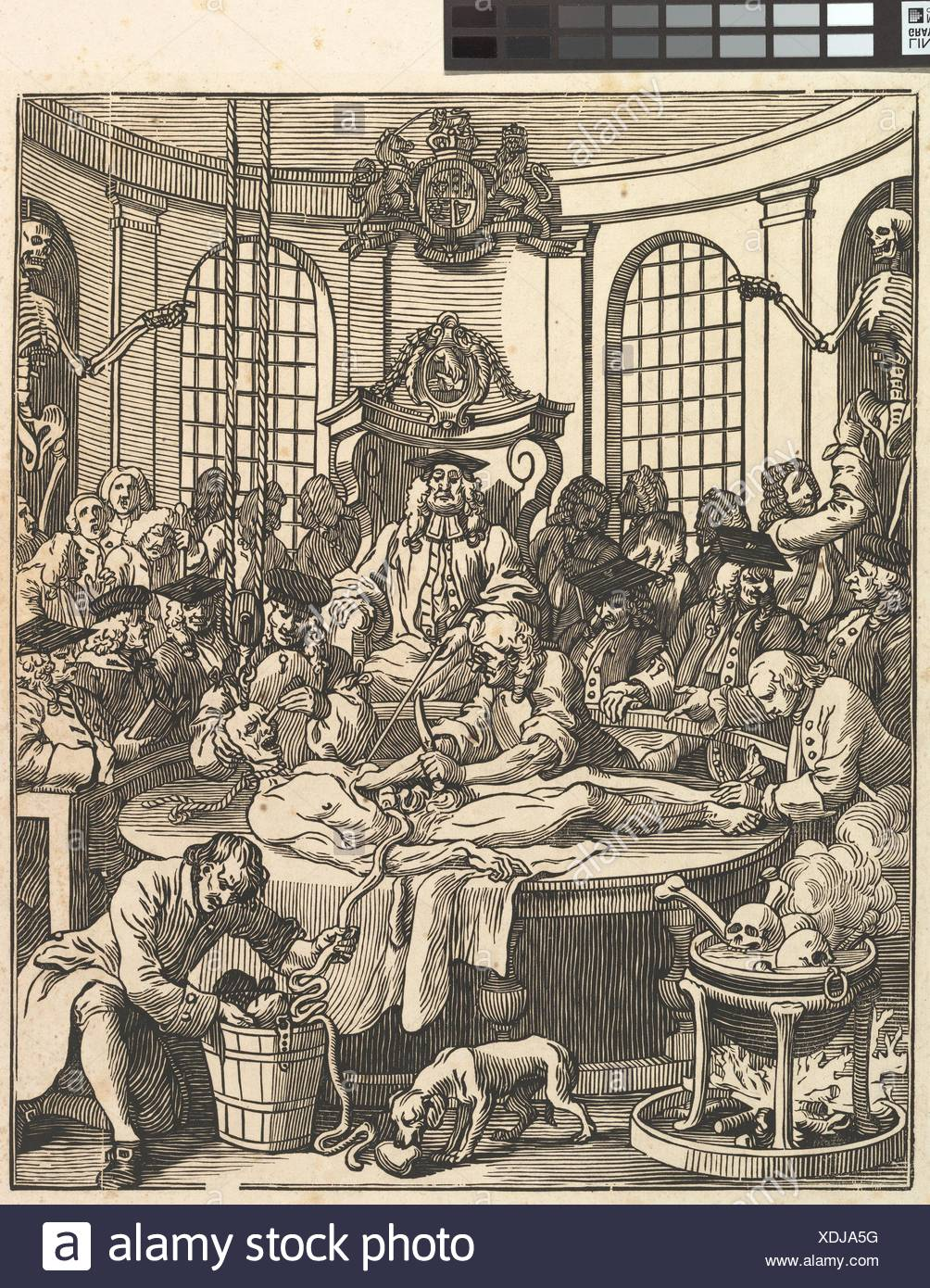 The Reward of Cruelty. Printmaker: J. Bell (British, active 1721-80); Artist: After William Hogarth (British, London 1697-1764 London); Publisher: - Stock Image