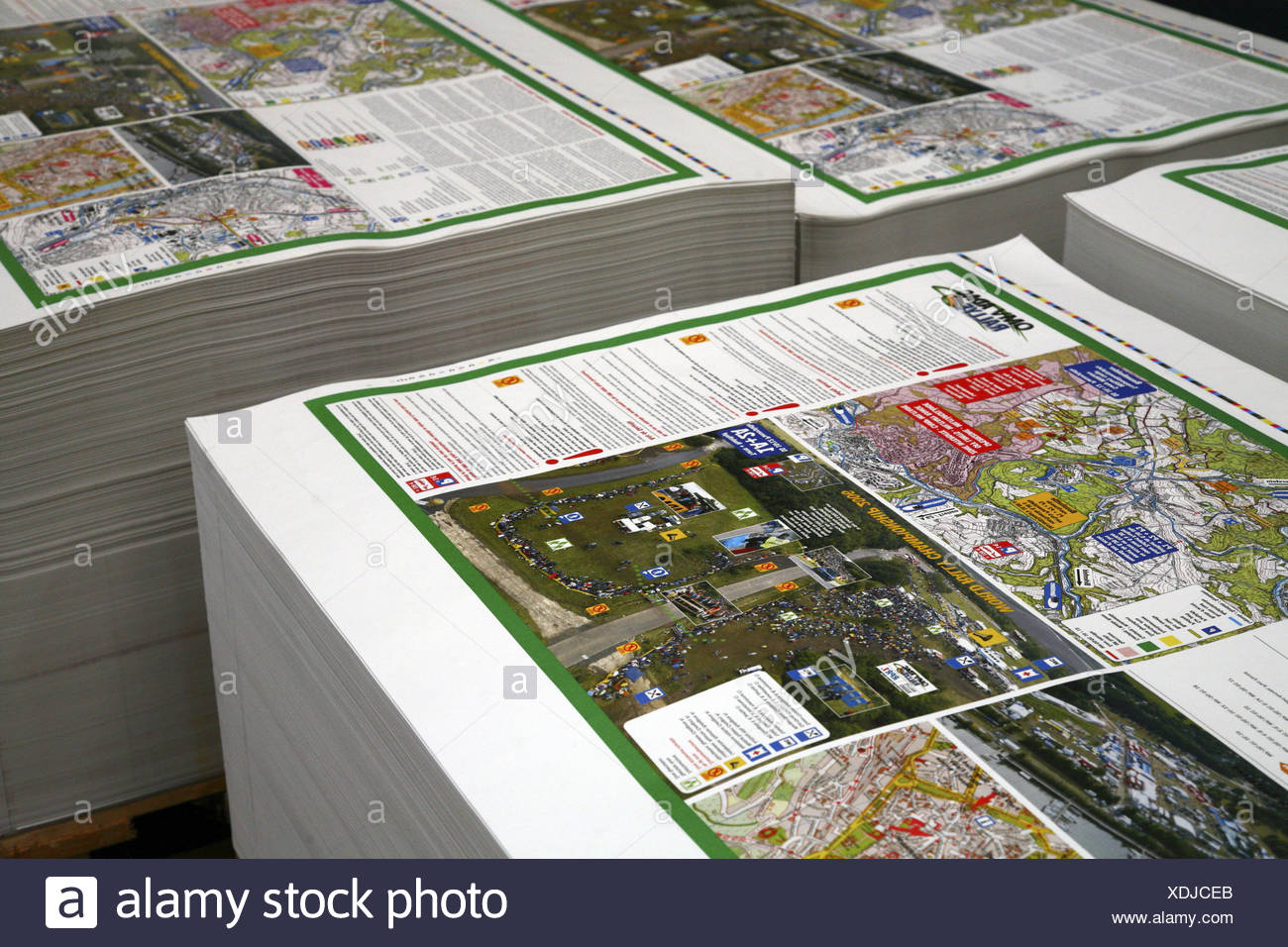Printing work paper-stack economy prints industry offset printing work-product stack paper inter-storage indoors quietly life - Stock Image