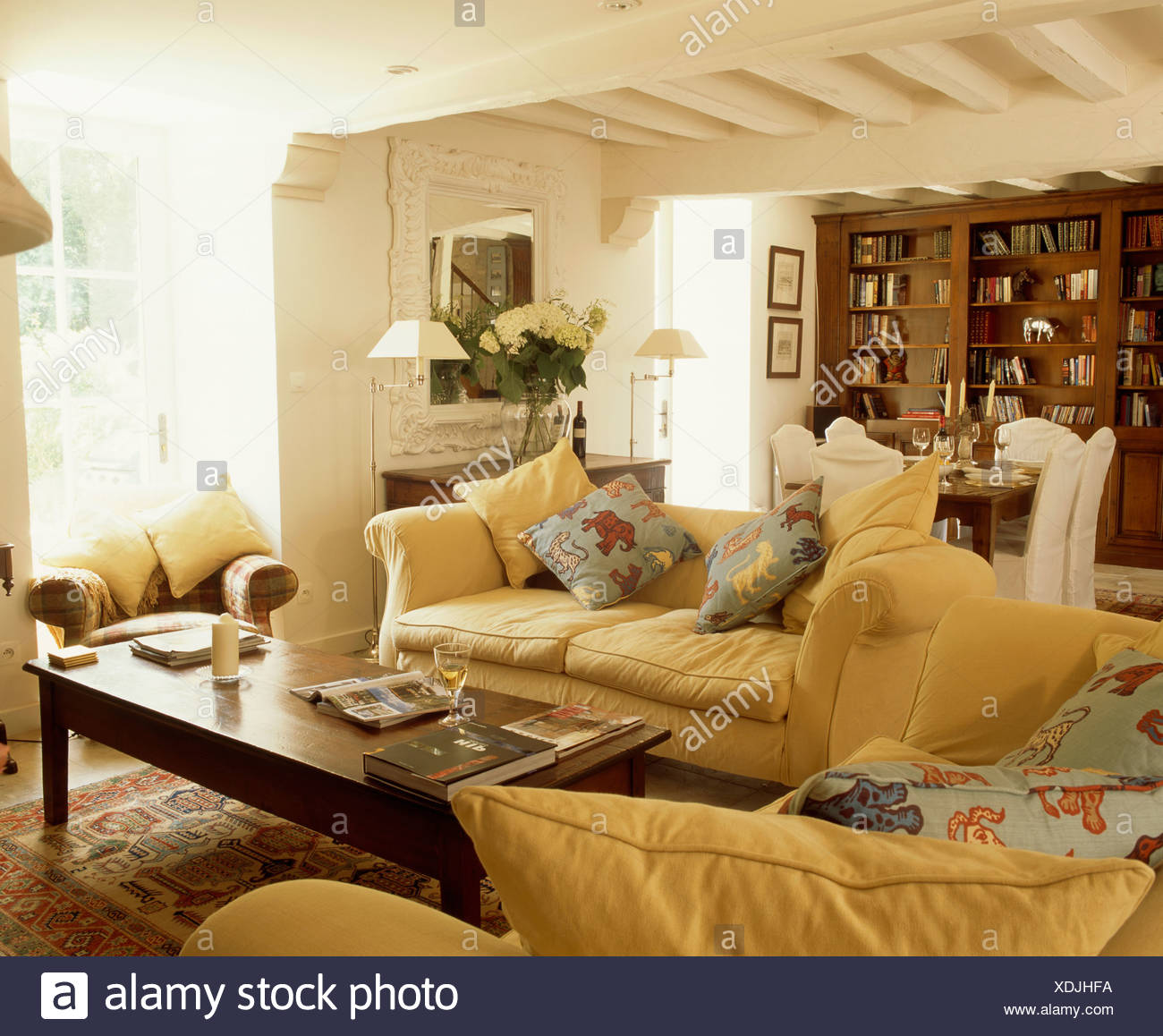 French Country Living Room Coffee Table: Yellow Sofas Cushions Stock Photos & Yellow Sofas Cushions