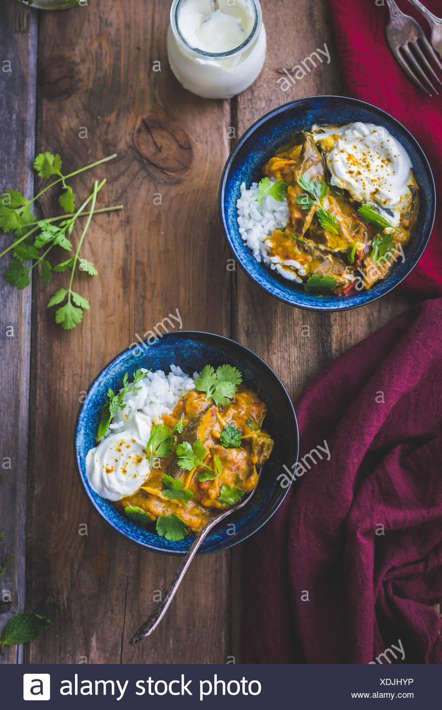 Aubergine curry with coriander - Stock Image