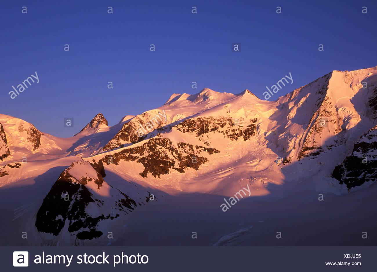 Bellavista Range in the morning, Bernina Range, Graubuenden, Switzerland, Europe - Stock Image