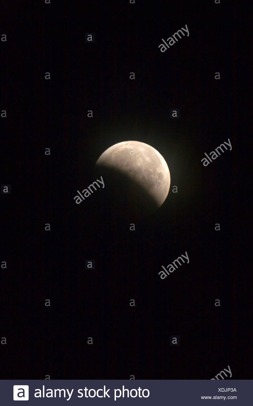 partial moon eclipse, 15.06.2011, Germany, Baden-Wuerttemberg, Baden-Baden - Stock Image