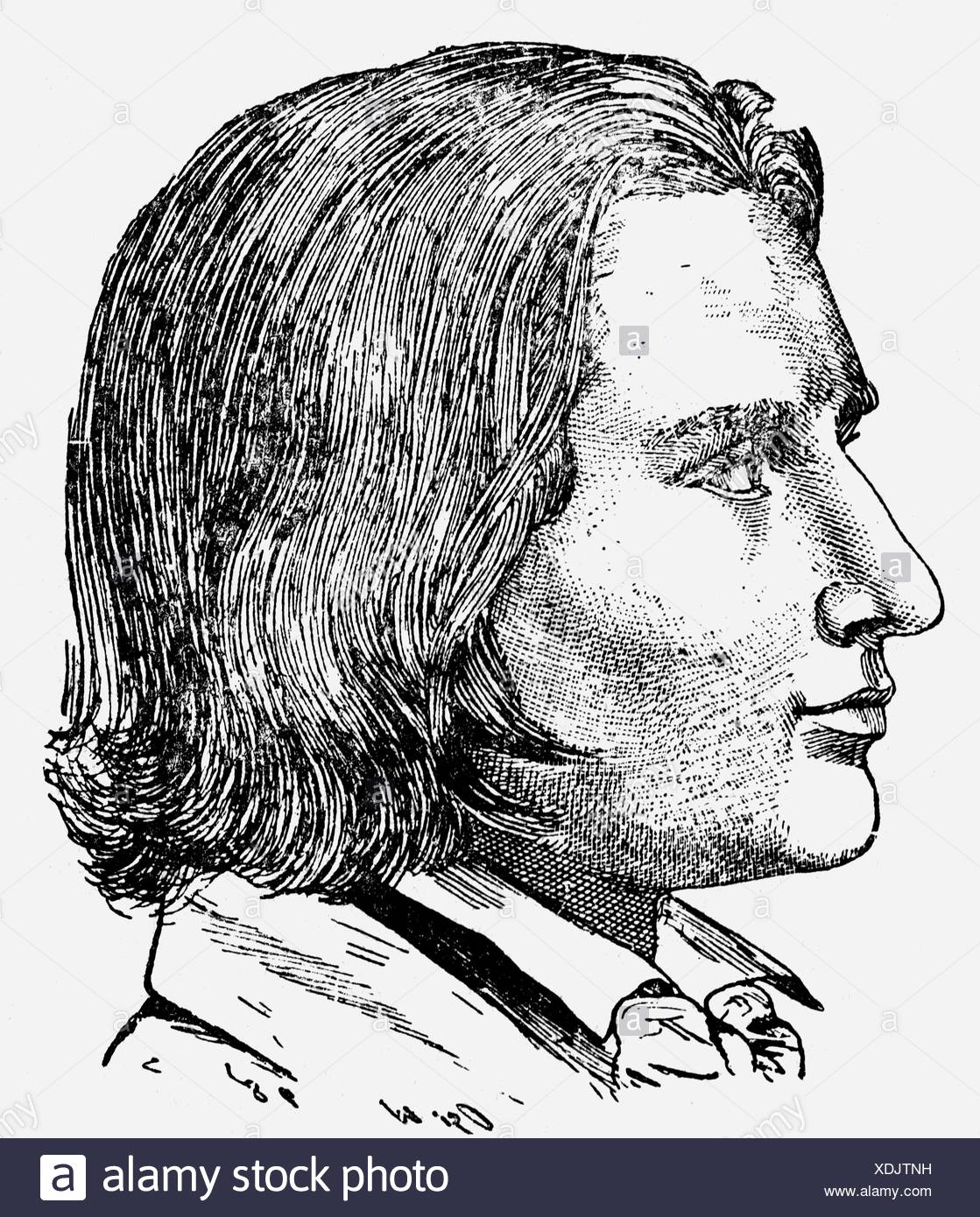 Liszt, Franz, 22.10.1811 - 31.7.1886, Hungarian composer and pianist, portrait, with 25 years, 1837, wood engraving, 19th century,  , Stock Photo