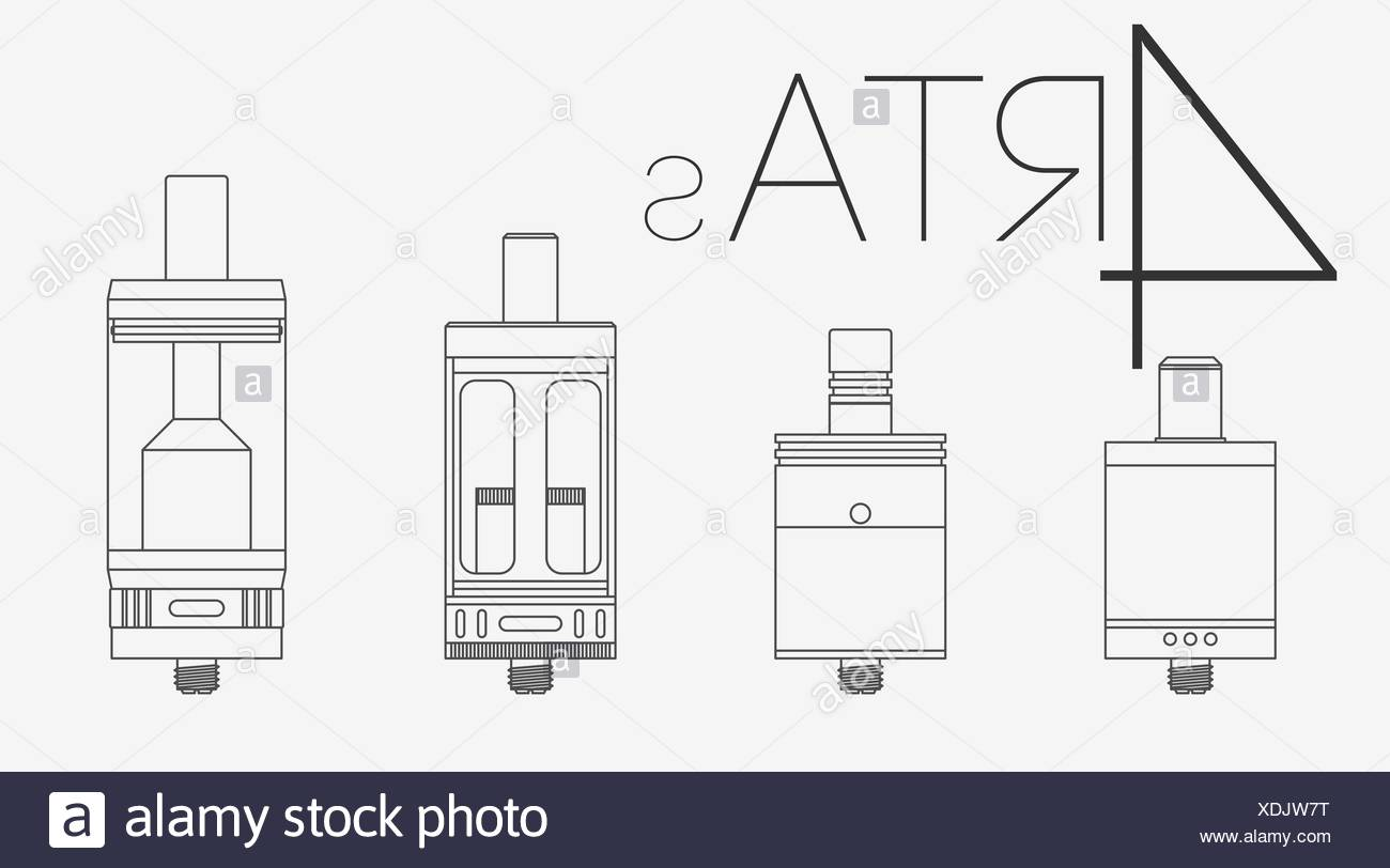 4 thin lines RTAs set - Stock Image