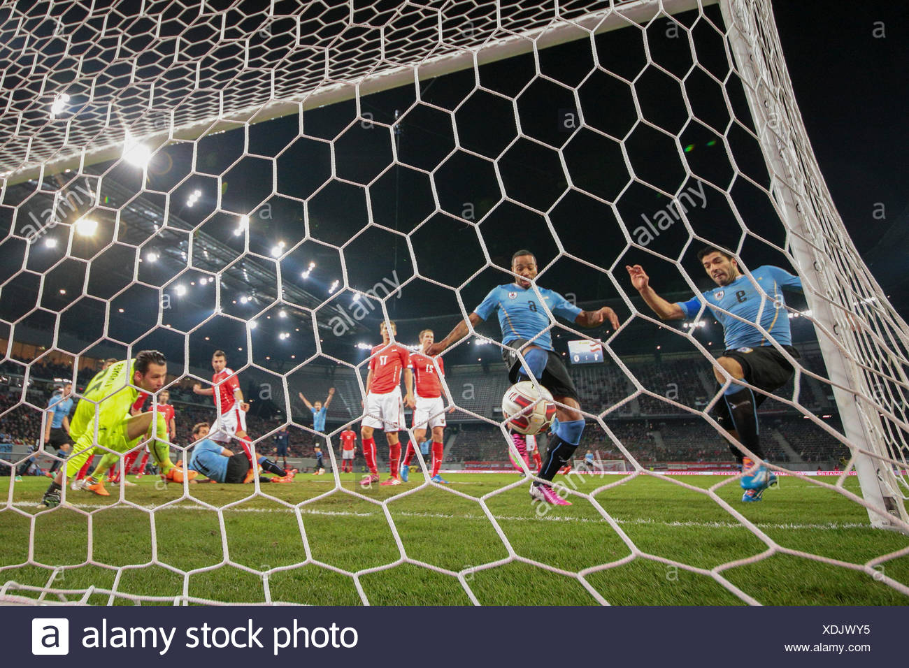 Alvaro Pereira, No. 6 Uruguay, scoring a goal in a friendly soccer game between Austria and Uruguay, Wörthersee-Arena - Stock Image