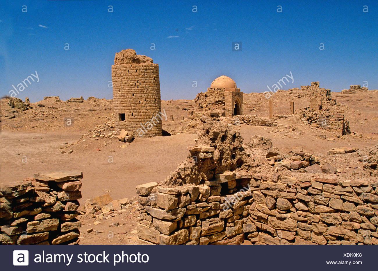 archaeological Site 500-150 Before Christ temple Nacra God Barakish North-east Yemen Arabia Orient - Stock Image