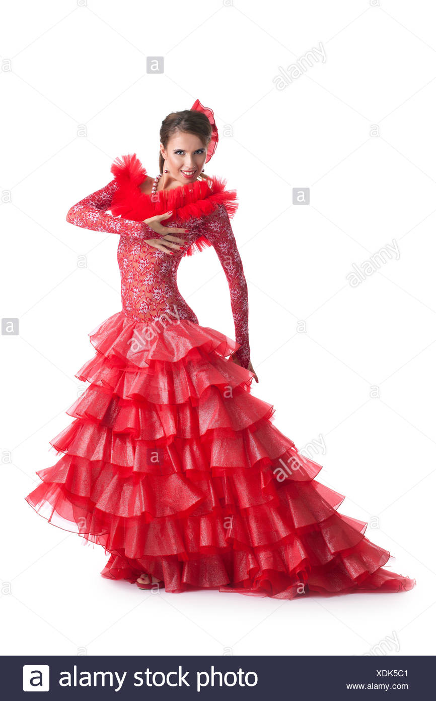 3e27a69caa73 Young woman in red dress performing flamenco - Stock Image