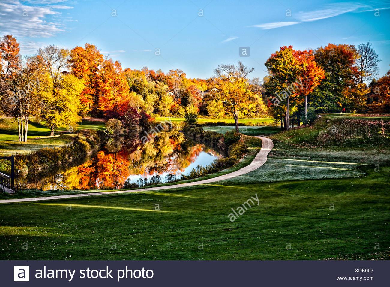 Autumn at The 9th hole of the Nattawasage Golf Course near Alliston, Ontario, Canada - Stock Image