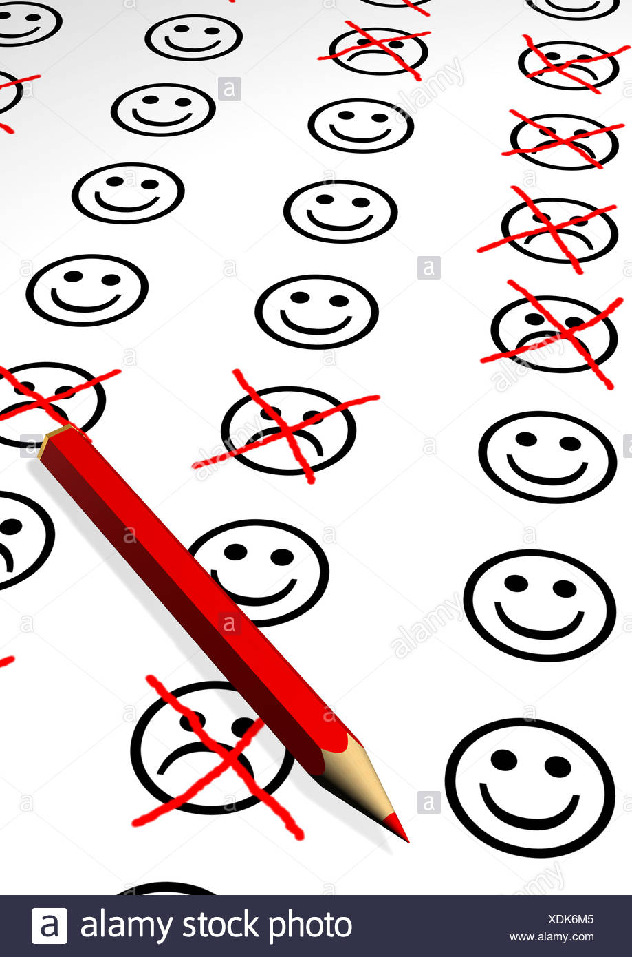 Smileys, emoticons, the sad ones crossed out, red pencil, illustration - Stock Image
