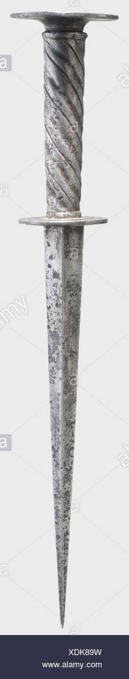 A German roundel dagger, first half of the 16th century. Strong, tapering blade of hollow quadrangular section. Disk guard. Iron spirally fullered grip. Flat roundel pommel. Length 32 cm. historic, historical, 16th century, dagger, daggers, thrusting, thrustings, baton, weapon, arms, weapons, arms, fighting device, object, objects, stills, clipping, cut out, cut-out, cut-outs, Additional-Rights-Clearances-NA - Stock Image