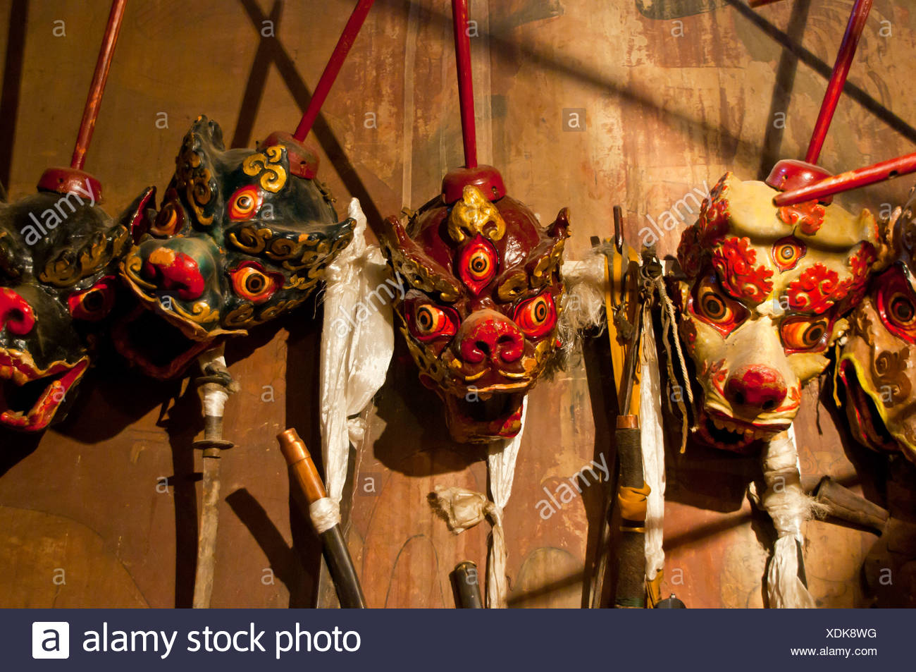 Old masks in Gyantse, Tibet, Asia - Stock Image