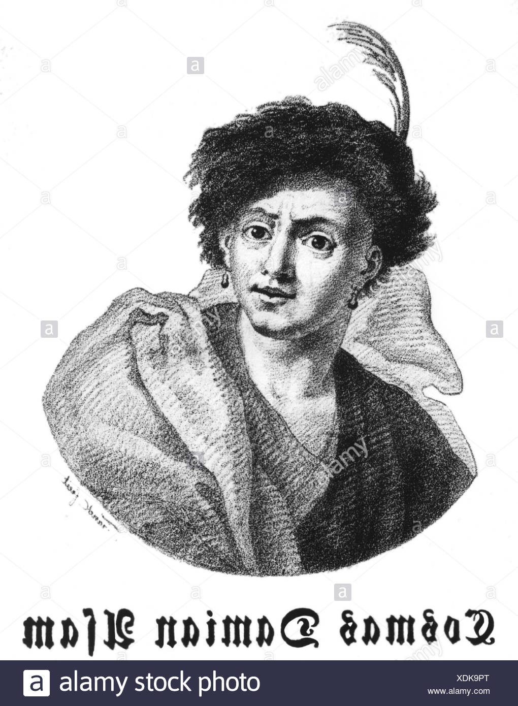 Asam, Cosmas Damian, 28.9.1686 - 10.5.1742, German painter, sculptor and architect, portrait, wood engraving, 19th century, , Artist's Copyright has not to be cleared - Stock Image