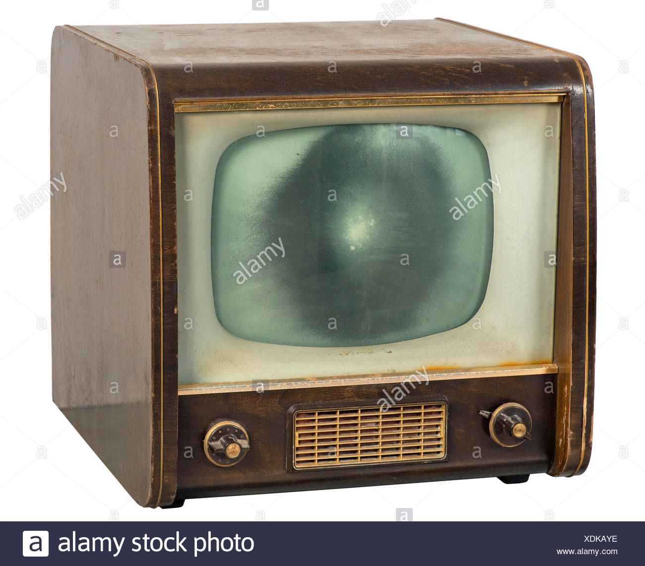 broadcast, television, television set Grundig 350, television set, 43 centimeter screen size, screen size damaged, implode, early German postwar device, original price at that time 895 DM, Germany, 1954, Additional-Rights-Clearences-NA - Stock Image