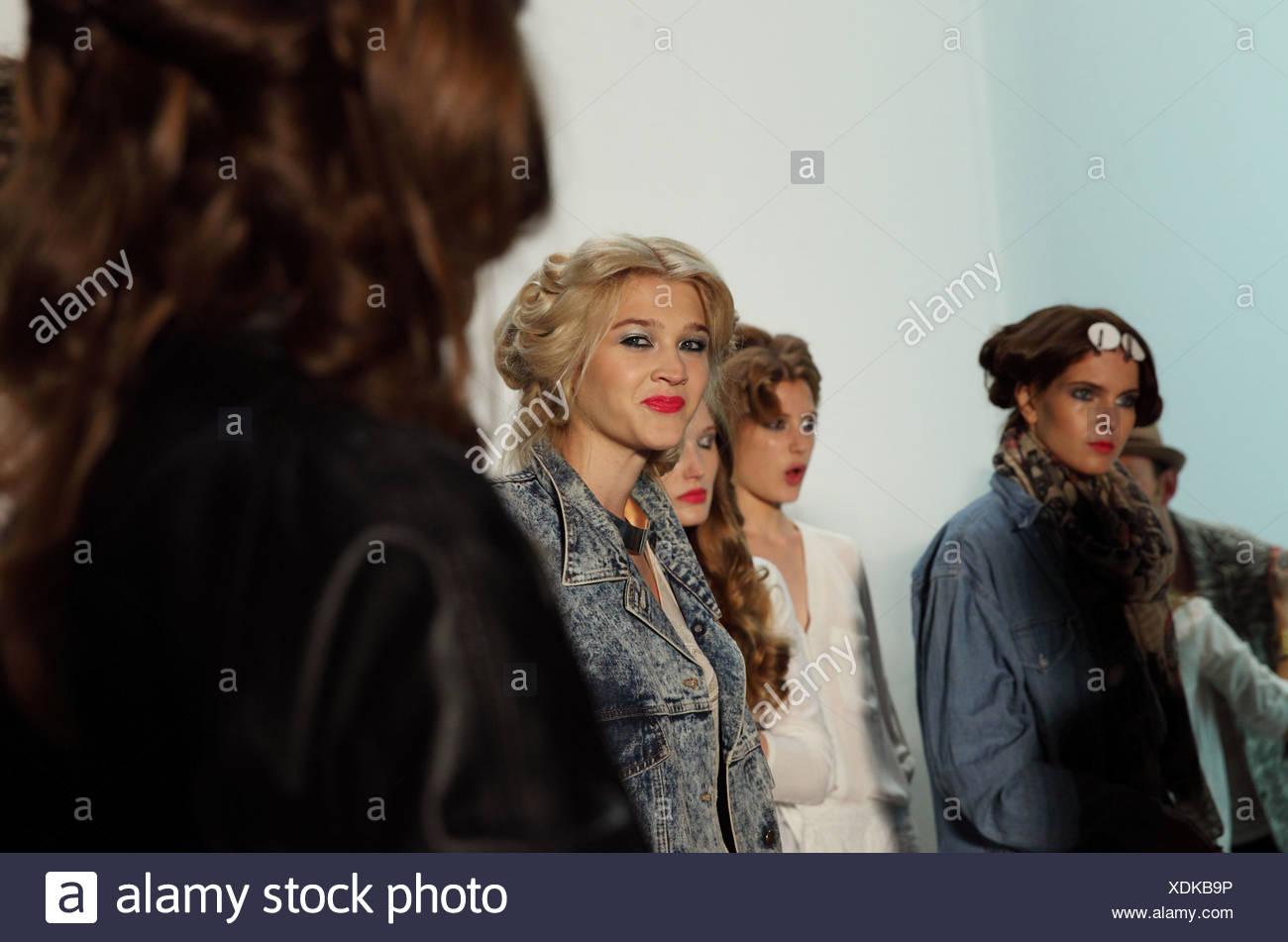 Berlin, Germany, Models backstage at Fashion Week - Stock Image